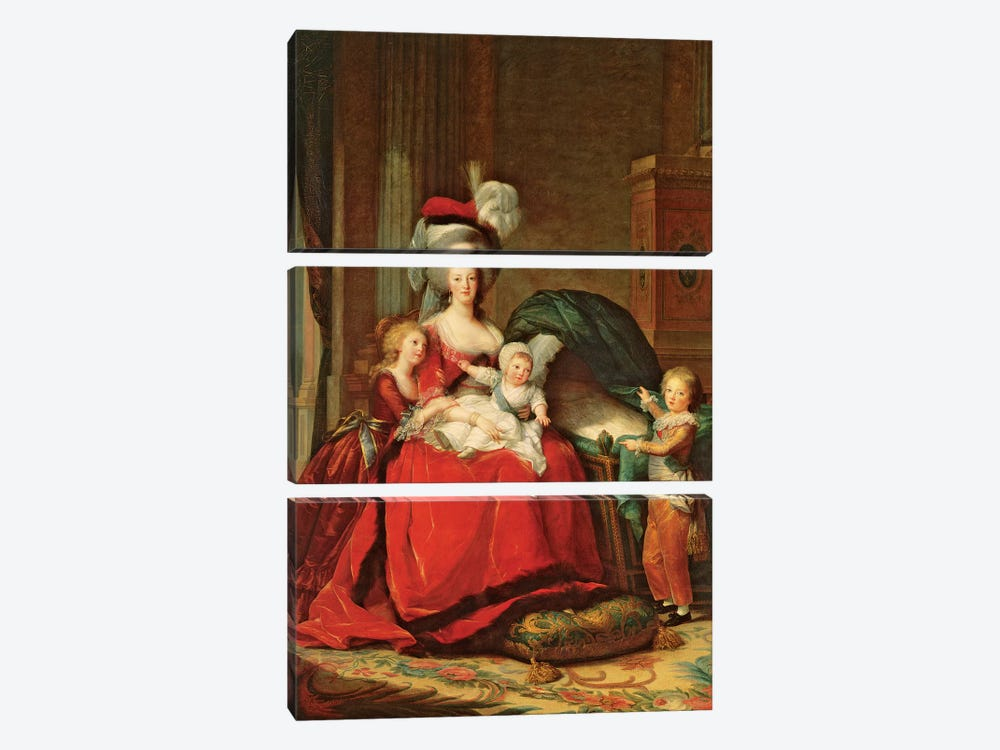 Marie Antoinette And Her Children, 1787 by Elisabeth Louise Vigee Le Brun 3-piece Canvas Artwork