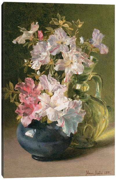 Azaleas in a Jug Canvas Art Print