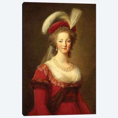 Portrait Of Marie Antoinette, Queen Of France Canvas Print #BMN7693} by Elisabeth Louise Vigee Le Brun Canvas Print