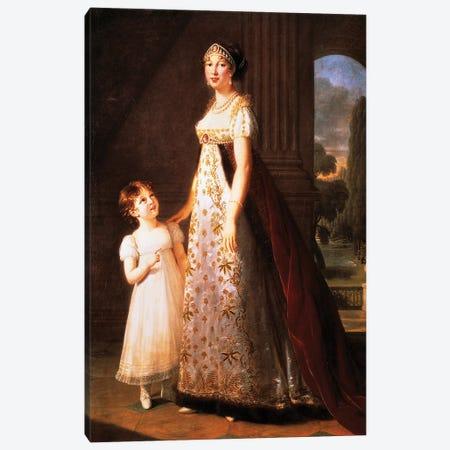 Portrait Of Caroline Bonaparte, Queen Of Naples And Daughter Of Carlo Bonaparte Canvas Print #BMN7697} by Elisabeth Louise Vigee Le Brun Canvas Artwork