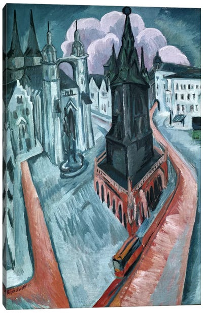 The Red Tower in Halle, 1915  Canvas Art Print