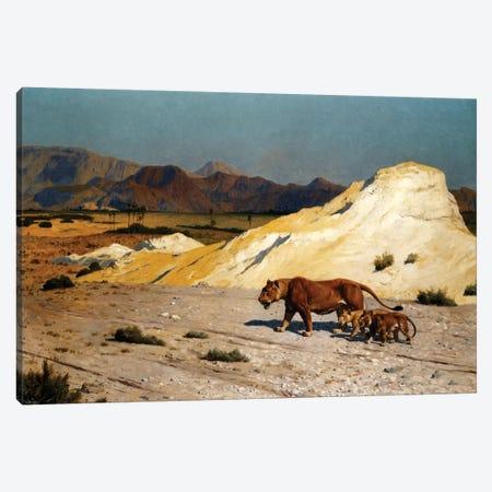 Lioness And Cubs; Lionne et Lioceaux Canvas Print #BMN7718} by Jean Leon Gerome Canvas Artwork