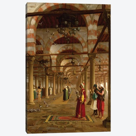 Prayer In The Mosque, 1871 3-Piece Canvas #BMN7723} by Jean Leon Gerome Canvas Art Print