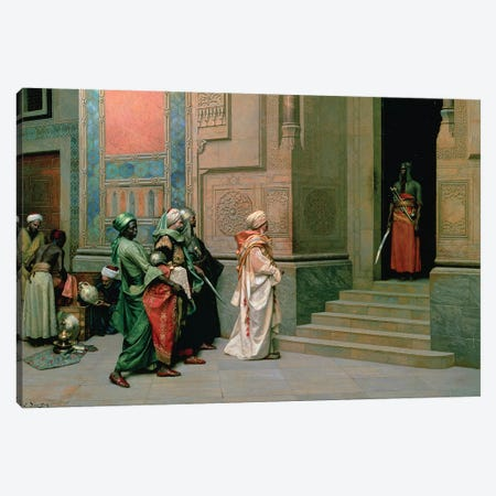 Outside The Palace 3-Piece Canvas #BMN7740} by Ludwig Deutsch Art Print