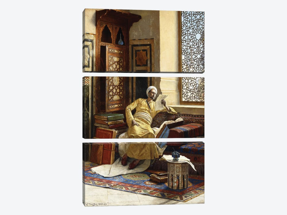 The Scholar, 1895 by Ludwig Deutsch 3-piece Canvas Wall Art