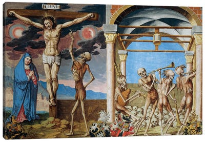 Death At The Foot Of The Cross, Skeletons Dancing In Ossuary From The Dance Of Death Cycle By Albrecht Kauw, 1649 Canvas Art Print