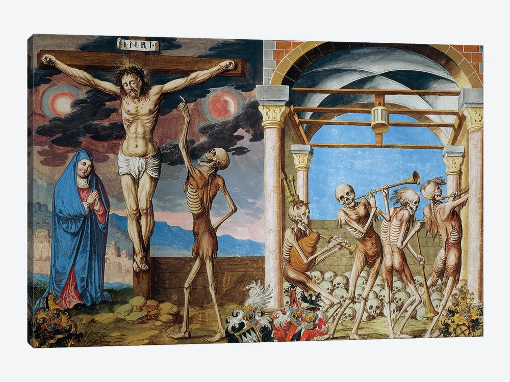 Death At The Foot Of The Cross, Skeletons Dancing In Ossuary From The Dance Of Death Cycle By Albrecht Kauw, 1649 by Niklaus Manuel 1-piece Canvas Art