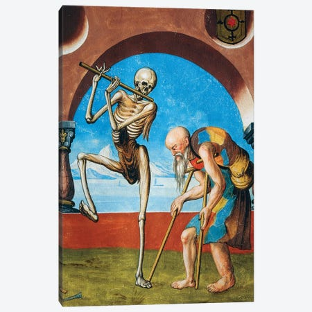 Death With Beggar, Detail Of Death, Artisan And Beggar From The Dance Of Death Cycle By Albrecht Kauw, 1649 Canvas Print #BMN7758} by Niklaus Manuel Canvas Artwork