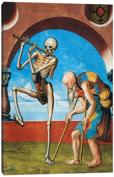 Death With Beggar, Detail Of Death, Artisan And Beggar From The Dance Of Death Cycle By Albrecht Kauw, 1649 Canvas Art Print