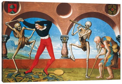 Death, Artisan And Beggar From The Dance Of Death Cycle By Albrecht Kauw, 1649 Canvas Art Print
