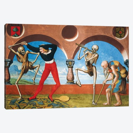 Death, Artisan And Beggar From The Dance Of Death Cycle By Albrecht Kauw, 1649 Canvas Print #BMN7759} by Niklaus Manuel Canvas Artwork