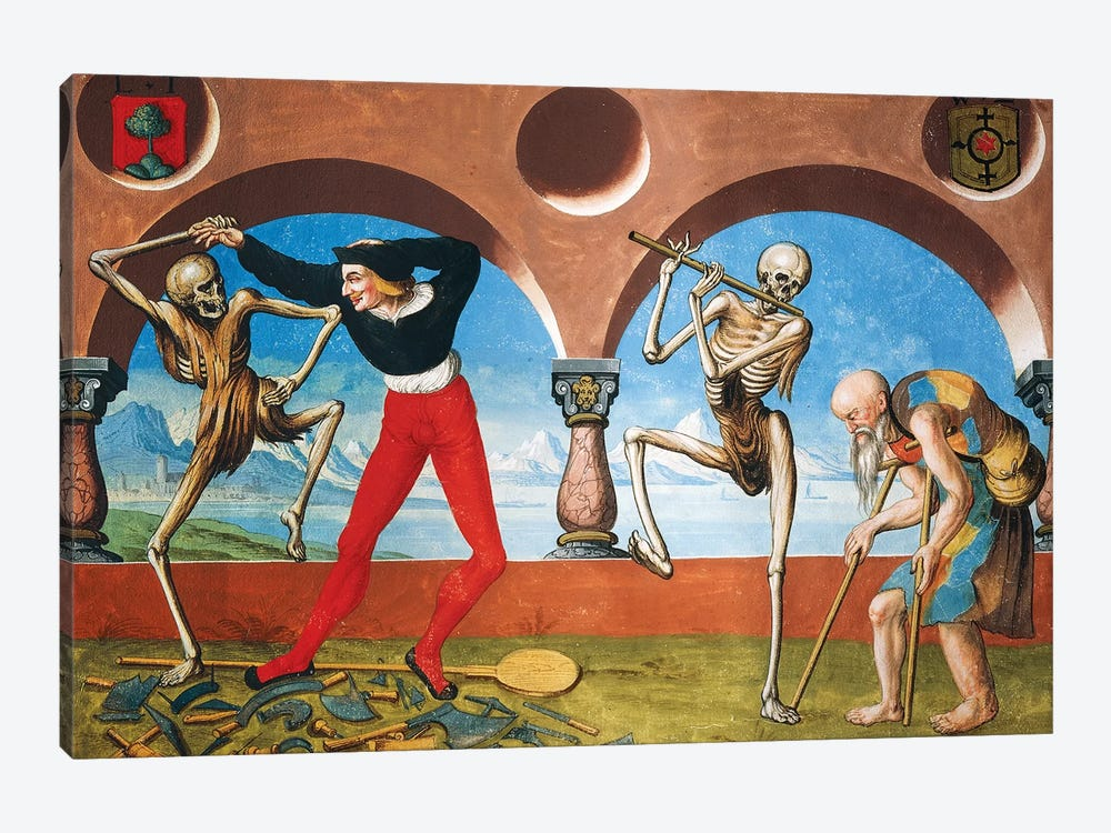 Death, Artisan And Beggar From The Dance Of Death Cycle By Albrecht Kauw, 1649 by Niklaus Manuel 1-piece Canvas Artwork