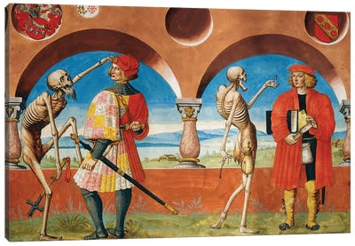 Death, Knight And Jurist From The Dance Of Death Cycle By Albrecht Kauw, 1649 Canvas Art Print