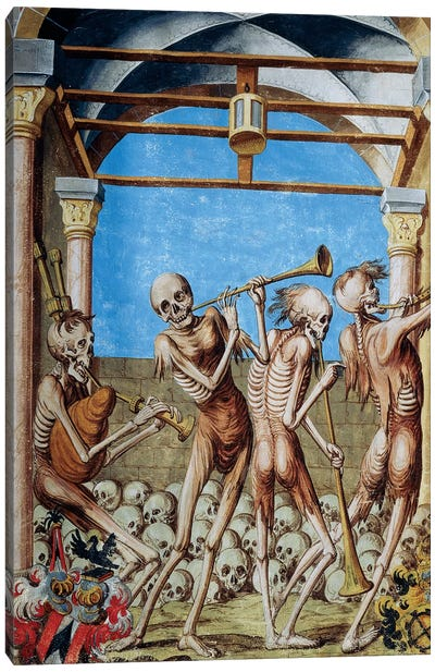Skeletons Dancing In Ossuary From The Dance Of Death Cycle By Albrecht Kauw, 1649 Canvas Art Print