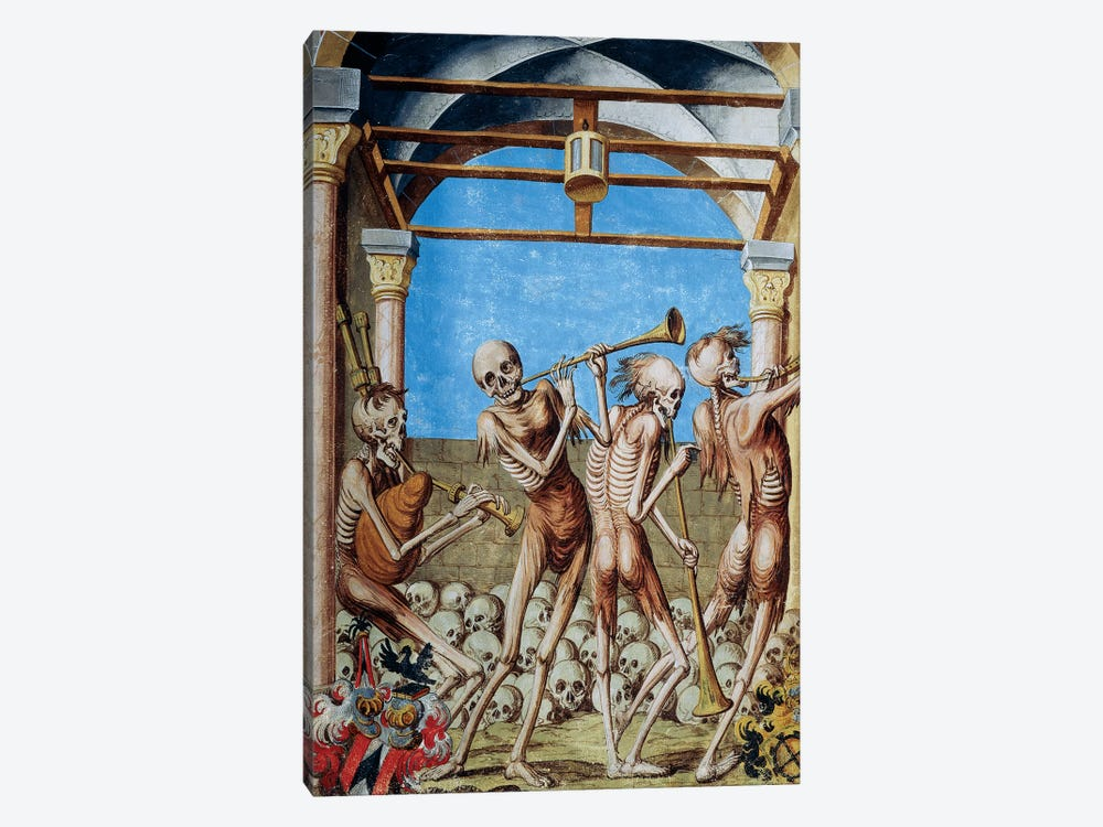 Skeletons Dancing In Ossuary From The Dance Of Death Cycle By Albrecht Kauw, 1649 by Niklaus Manuel 1-piece Canvas Print