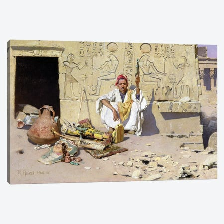 The Seller Of Artefacts, 1885 3-Piece Canvas #BMN7763} by Raphael von Ambros Art Print