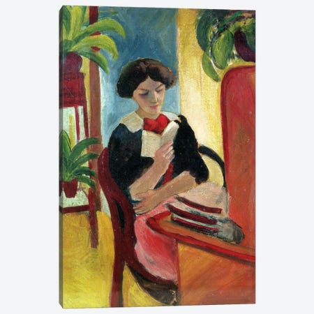 Elizabeth Reading Canvas Print #BMN776} by August Macke Canvas Print