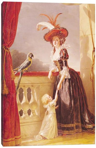 Portrait Of Louise-Elisabeth De France (1727-59) Duchess Of Parma And Her Son Ferdinand (1751-1802), 1786 Canvas Art Print