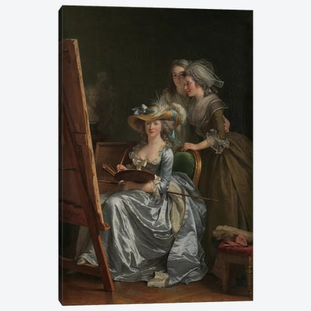 Self-Portrait With Two Pupils, Marie Gabrielle Capet And Marie Marguerite Carreaux de Rosemond, 1785 Canvas Print #BMN7786} by Adelaide Labille-Guiard Canvas Art