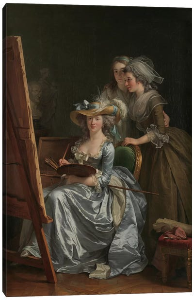 Self-Portrait With Two Pupils, Marie Gabrielle Capet And Marie Marguerite Carreaux de Rosemond, 1785 Canvas Art Print