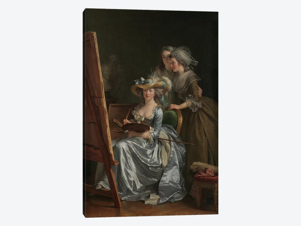 Self-Portrait With Two Pupils, Marie Gabrielle Capet And Marie Marguerite Carreaux de Rosemond, 1785 by Adelaide Labille-Guiard 1-piece Canvas Art