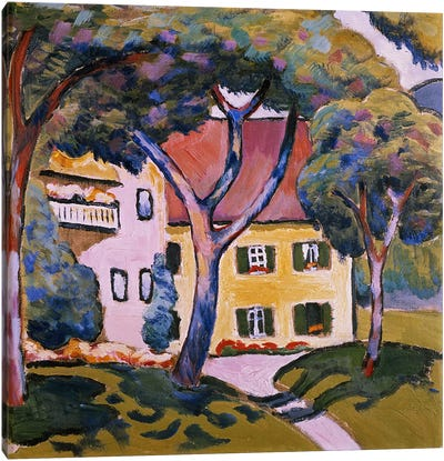 House in a Landscape by August Macke Canvas Artwork