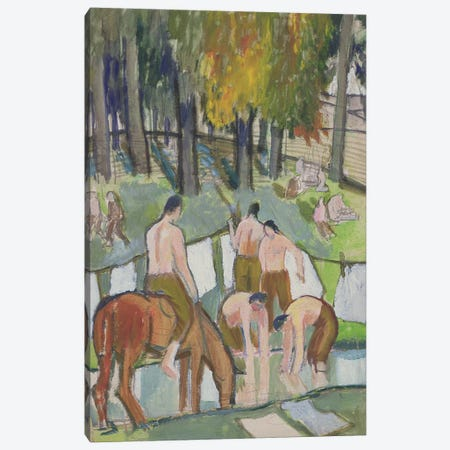 Soldiers At A Stream, 1920 3-Piece Canvas #BMN7798} by Dora Carrington Canvas Wall Art