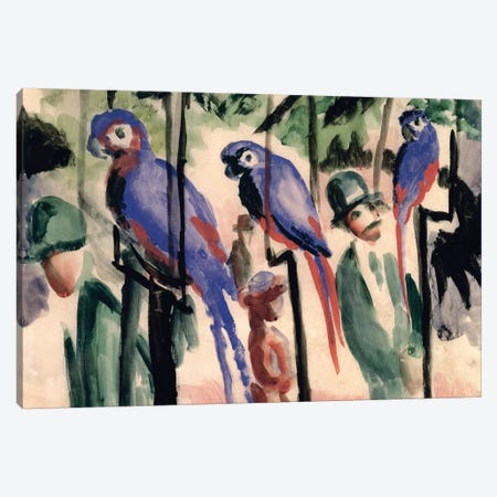 Blue Parrots  Canvas Print #BMN780} by August Macke Canvas Art Print