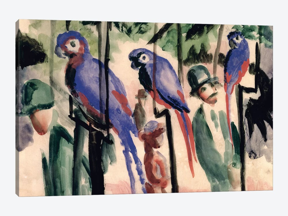 Blue Parrots  by August Macke 1-piece Canvas Wall Art