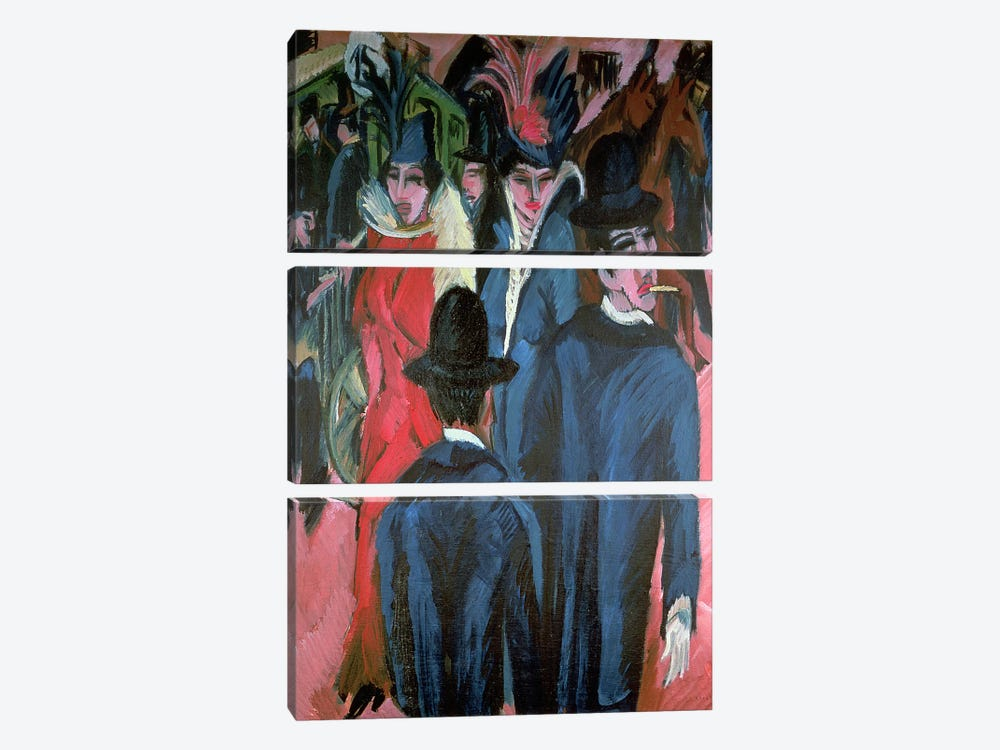 Berlin Street Scene, 1913  by Ernst Ludwig Kirchner 3-piece Canvas Art Print