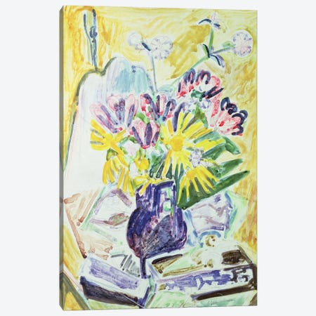 Flowers in a Vase, 1918-19  Canvas Print #BMN783} by Ernst Ludwig Kirchner Canvas Art Print