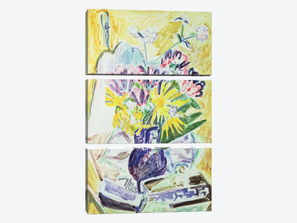 Flowers in a Vase, 1918-19  by Ernst Ludwig Kirchner 3-piece Art Print