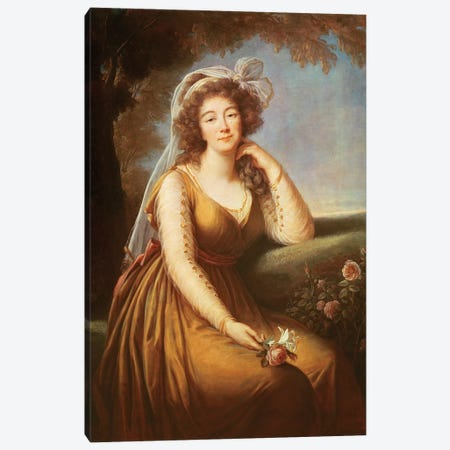 Comtesse Du Barry, Holding A Rose Canvas Print #BMN7840} by Elisabeth Louise Vigee Le Brun Canvas Artwork