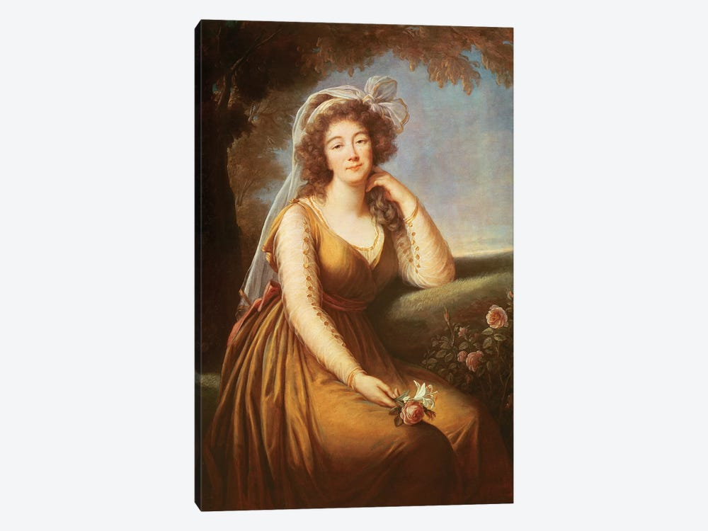Comtesse Du Barry, Holding A Rose by Elisabeth Louise Vigee Le Brun 1-piece Canvas Wall Art