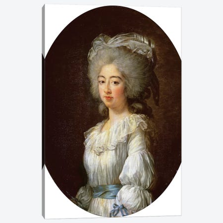 Louise Marie Josephine, Comtesse De Provence, Later Queen Of France Wearing White Dress With Blue Sash And Ribbons, 1782 Canvas Print #BMN7844} by Elisabeth Louise Vigee Le Brun Canvas Art Print