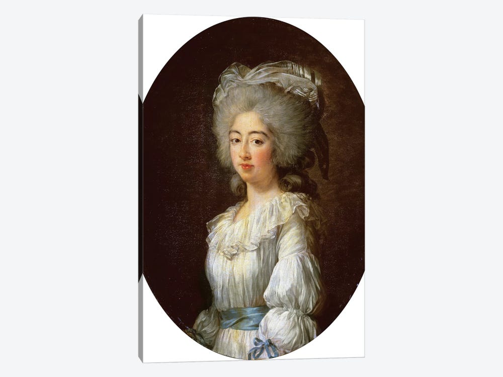 Louise Marie Josephine, Comtesse De Provence, Later Queen Of France Wearing White Dress With Blue Sash And Ribbons, 1782 by Elisabeth Louise Vigee Le Brun 1-piece Canvas Artwork