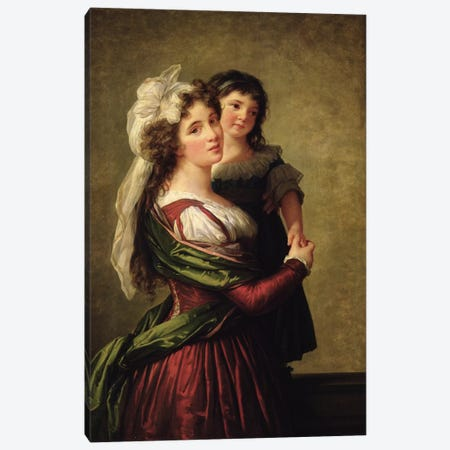 Madame Rousseau And Her Daughter, 1789 Canvas Print #BMN7847} by Elisabeth Louise Vigee Le Brun Canvas Print