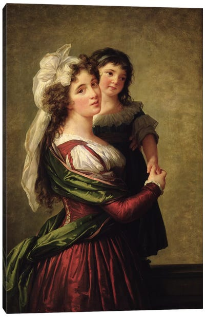Madame Rousseau And Her Daughter, 1789 Canvas Art Print