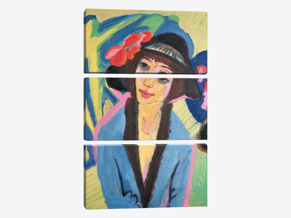 Portrait of Gerda by Ernst Ludwig Kirchner 3-piece Canvas Wall Art