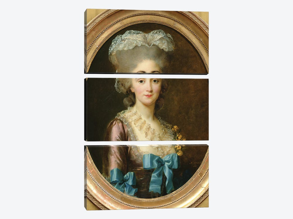 Portrait Of Madame Lesould, 1780 by Elisabeth Louise Vigee Le Brun 3-piece Canvas Art