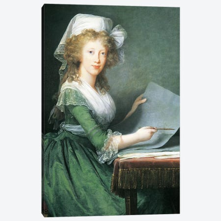 Portrait Of Marie Antoinette, By Elisabeth Louise Vigee -Lebrun, Painting Canvas Print #BMN7869} by Elisabeth Louise Vigee Le Brun Canvas Wall Art