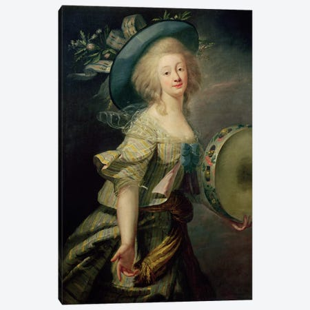 Portrait Of Marie-Anne De Cupis (1710-70) Also Known As La Camargo Canvas Print #BMN7870} by Elisabeth Louise Vigee Le Brun Canvas Art Print