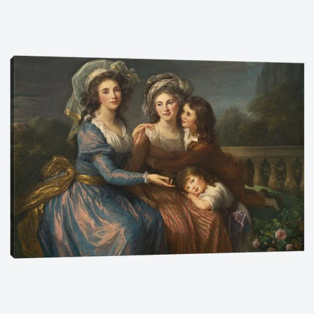 The Marquise De Pezay, And The Marquise De Rougé With Her Sons Alexis And Adrien, 1787 3-Piece Canvas #BMN7884} by Elisabeth Louise Vigee Le Brun Art Print