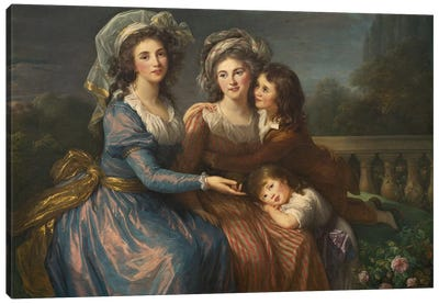 The Marquise De Pezay, And The Marquise De Rougé With Her Sons Alexis And Adrien, 1787 Canvas Art Print