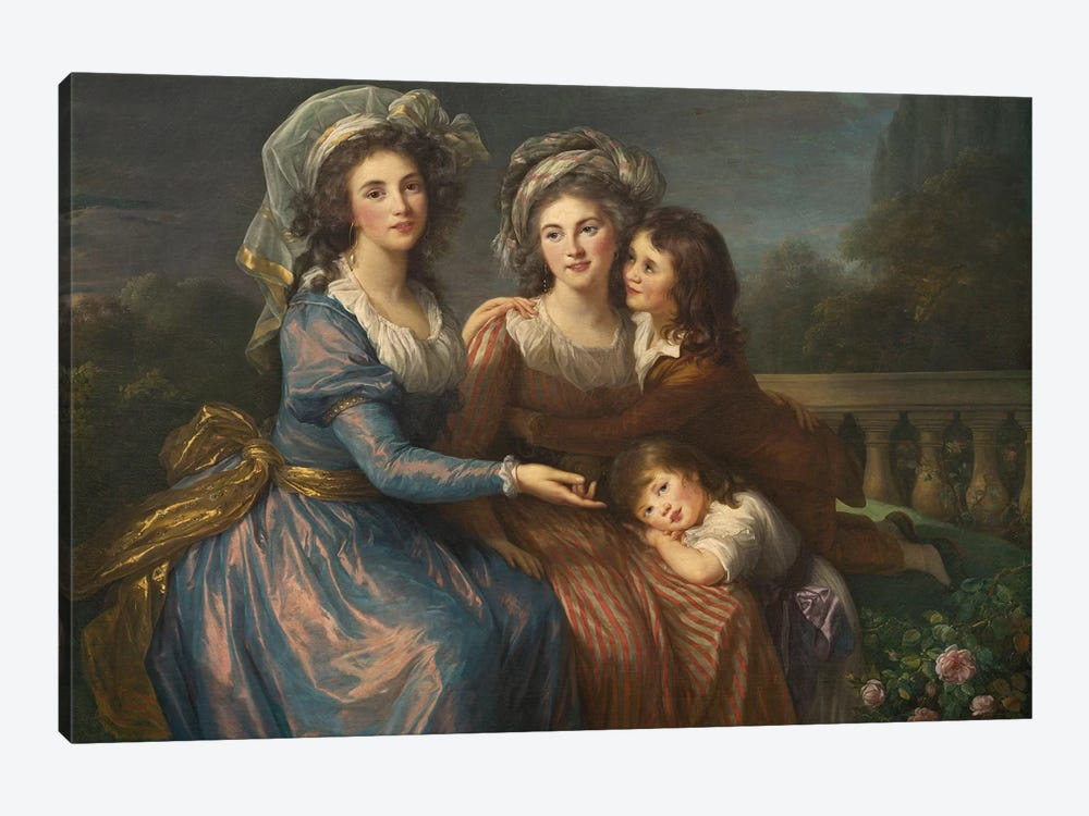 The Marquise De Pezay, And The Marquise De Rougé With Her Sons Alexis And Adrien, 1787 by Elisabeth Louise Vigee Le Brun 1-piece Canvas Wall Art