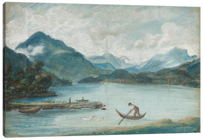 View Of Lake Geneva With A Man Rowing A Small Boat And Two Swans Canvas Art Print