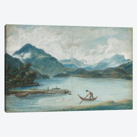 View Of Lake Geneva With A Man Rowing A Small Boat And Two Swans 3-Piece Canvas #BMN7886} by Elisabeth Louise Vigee Le Brun Canvas Print