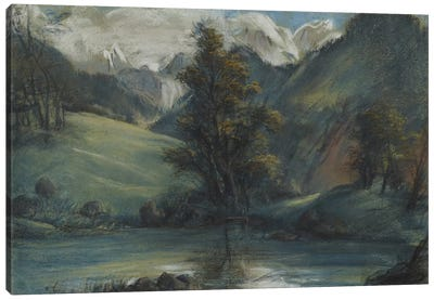 View Of The Lake Of Challes And Mont Blanc, 1807-1808 Canvas Art Print