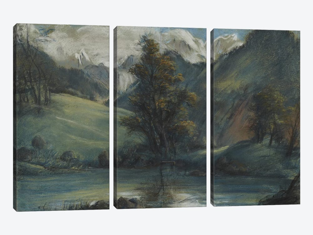 View Of The Lake Of Challes And Mont Blanc, 1807-1808 by Elisabeth Louise Vigee Le Brun 3-piece Canvas Art Print