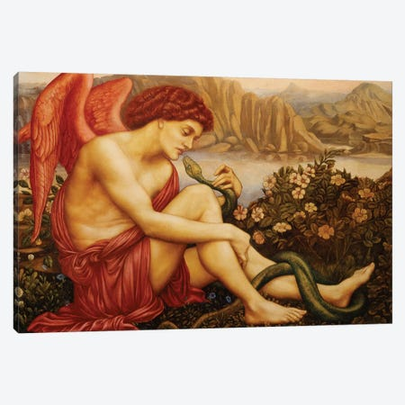 Angel With Serpent Canvas Print #BMN7891} by Evelyn De Morgan Canvas Art Print